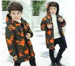 Куртка утепленная детская для мальчиков с капюшоном двусторонняя