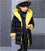 Куртка утепленная детская для девочек с капюшоном двусторонняя
