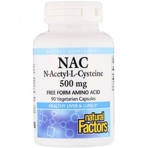 Natural Factors, NAC N-Acetyl-L Cysteine, 500 mg, 90 Vegetarian Capsules