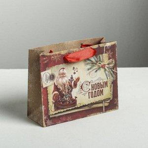 Пакет крафтовый горизонтальный «С Новым годом», S 15 ? 12 ? 5.5 см