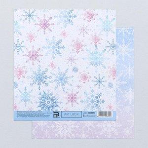 Бумага для скрапбукинга «Нежные снежинки», 15.5 ? 17 см, 180 г/м