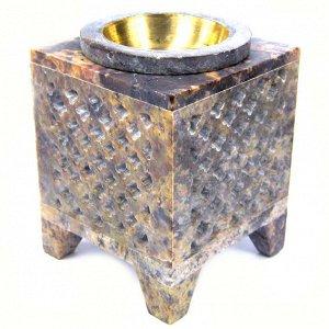 Аромалампа, камень (Индия), 8,5см, чаша с бронзовой вставкой