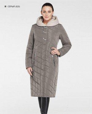 Зимнее женское пальто с капюшоном ХИТ ПРОДАЖ, цвет серый/бежевый