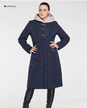 Зимнее женское пальто с капюшоном ХИТ ПРОДАЖ, цвет т.синий/бежевый