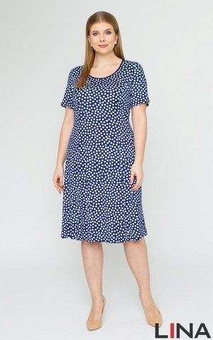 Платье синий,цветы Легкое платье средней длины, с красивым цветочным принтом. Фасон модели с короткими рукавами, округлой горловиной, полуприталенного силуэта. Это платье станет универсальным выбором