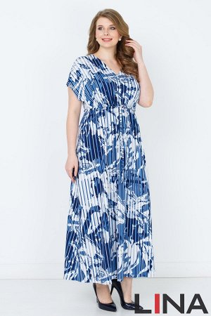 Платье синий, красный ,зебра, клетка, этно-зебра. Эффектное платье максимальной длины, выполнено из ткани с принтом-имитацией гофре. Фасон модели с короткими цельнокроеными рукавами, расширенной пройм