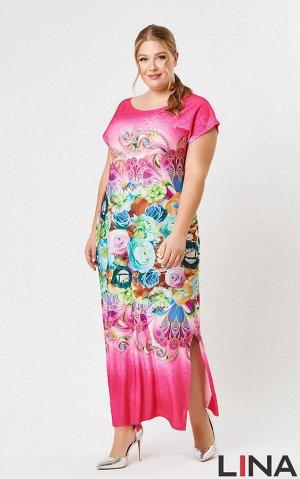 платье Синий-цветы, розовый-цветы.цветы желтые на черном,  розовый розы, красный розы, Вискоза 66%, полиэстер 29%, эластан 5%.Расположение рисунка может не совпадать с представленным на фото, ткань ку
