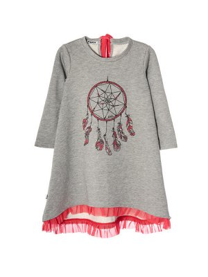 Платье 959А серо-коралловый