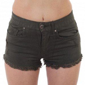 Джинсовые шорты для девушки – милитари цвет, бахрома, потёртости №200
