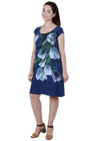 Платье Тюльпаны Цвет: Петрольный. Производитель: Оптима Трикотаж