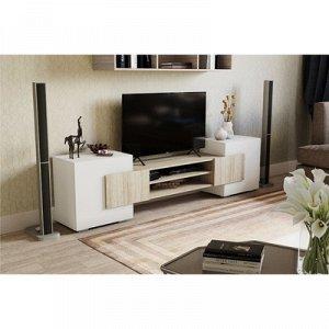 Тумба для ТВ, 2020х355х520, Ясень шимо светлый/Белый