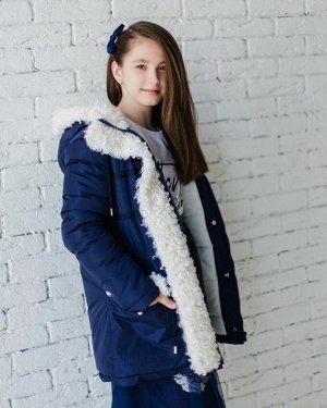 З 20 Куртка - пуховик  для девочки  Т.синий