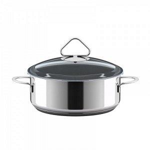 """Кастрюля Кастрюля нерж 2,0л """"Стекло"""" ст.кр 220320  Кастрюля Гурман """"Стекло"""" 2,0 л удобна для приготовления вторых блюд (тушения мяса, овощей, варки каш) на 2-3 человек. Можно использовать как жаровню,"""