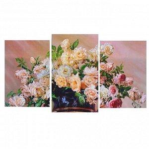 "Модульная картина на подрамнике ""Ваза с цветами"" (2-31х44; 1-31х51) 93х51 см"