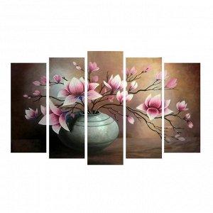 """Картина модульная на подрамнике """"Цветы в вазе""""  2шт-25*71; 2шт-25*63; 1шт-25*80  125*80 см"""