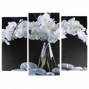 """Модульная картина """"Орхидеи в вазе""""  (2-25х52; 1-30х60) 60х80 см"""