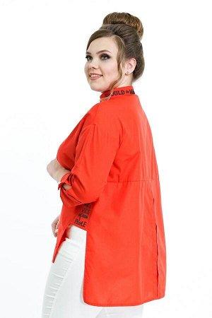 """Туника Рубашка """"Oversize"""" с черной надписью красная Длина изделия 50 размера по спинке - 83 см. В каждом следующем размере длина увеличивается.. Креп, эластан. . ."""