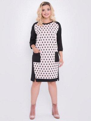 Платье Платье прилегающего кроя выполнено из комбинированного трикотажного полотна. - круглая горловина на широкой бейке - перед выполнен из контрастной ткани и дополнен накладными карманами - рукава