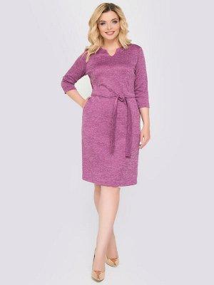 Платье Повседневное платье прилегающего силуэта из меланжевого трикотажа с поясом. - однотонная расцветка - горловина скруглая с небольшим вырезом - рукава втачные, длиной 3/4 - отрезное по переду - п