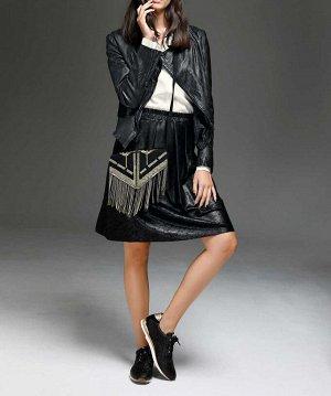 Кожаная юбка, черная