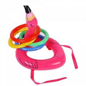 """Игрушка надувная """"Кольцеброс-фламинго""""  30 см, с 4 кольцами"""