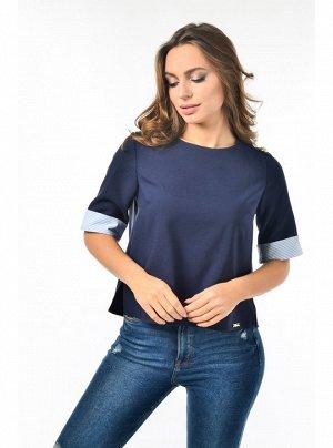 Блуза з манжетою велика смужка Блакитна