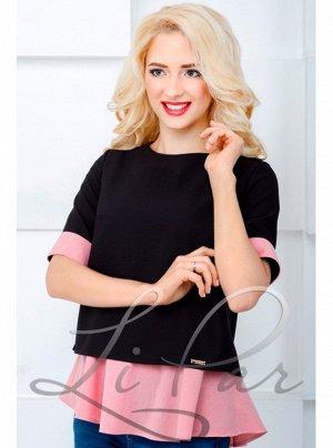 Блуза з манжетою дрібна смужка Рожева
