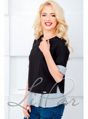 Блуза з манжетою сіра велика смужка Чорна