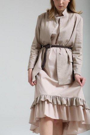Платье Состав: 95%хлопок, 5%эл. Цвет: пудра, бежевый, синий, серо-голубой. Сарафан ассиметричного кроя с воланами раной ширины. Круглый вырез.