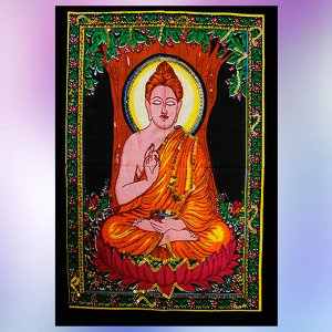 Панно Будда 47см-40см хлопок и вышивка пайетками Индия