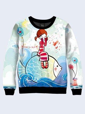 Свитшот Девочка на рыбе