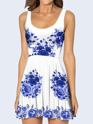 3D платье Синие цветы