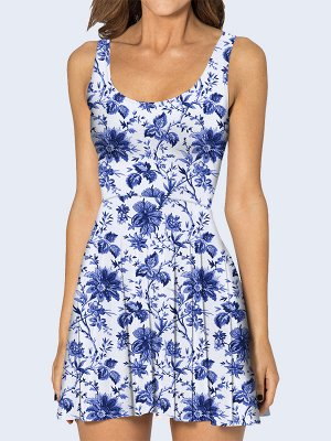3D платье Синий орнамент из цветов