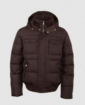 . Коричневый; Темно-синий;   Пуховик мужской 57249A  Четыре наружных кармана, два внутренних кармана, трикотажный воротник, внутренний трикотажный манжет в рукавах,трикотажный манжет по низу куртк