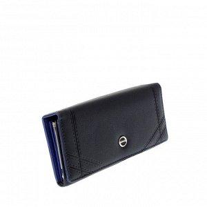 Стильный женский кошелек Guool из эко-кожи цвета темного индиго.