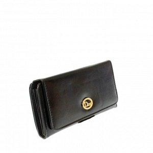 Стильный женский кошелек Dor из эко-кожи черного цвета.
