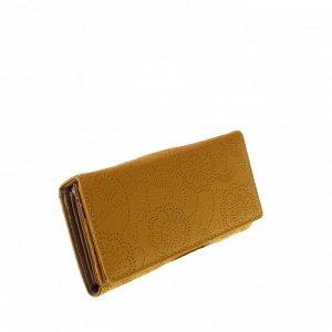 Стильный женский кошелек Tiner_Flow из эко-кожи желтого цвета.