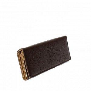 Стильный женский кошелек Tiner_Flow из эко-кожи шоколадного цвета.