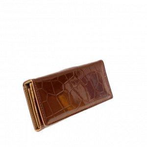 Стильный женский кошелек Tiner из эко-кожи шоколадного цвета.