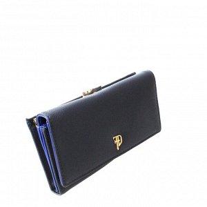 Стильный женский кошелек Prevrlod из эко-кожи цвета темного индиго.
