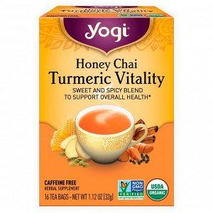 Yogi Tea, Honey Chai, жизненная сила куркумы, 16 чайных пакетиков, 1,12 унции (32 г)
