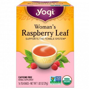 Yogi Tea, Лист малины для женщин, без кофеина, 16 чайных пакетиков, 1,02 унции (29 г)