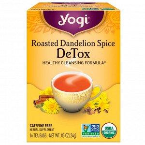 Yogi Tea, Roasted Dandelion Spice Detox, без кофеина, 16 чайных пакетиков, 0,85 унц. (24 г)