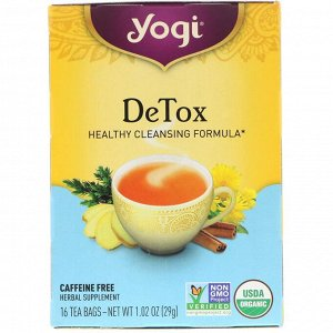 Yogi Tea, Detox, без кофеина, 16 чайных пакетиков, 29 г