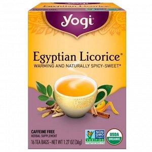 Yogi Tea, Egyptian Licorice, без кофеина, 16 чайных пакетиков, 36 г