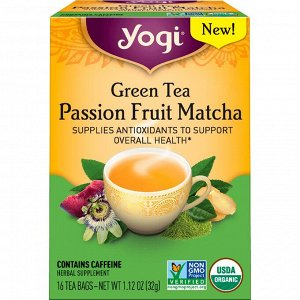 Yogi Tea, Зеленый чай, Маракуйя и маття, 16 чайных пакетиков, 1,12 унц. (32 г)