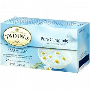 Twinings, Ромашковый травяной чай, Без кофеина, 25 чайных пакетиков, 1,32 унции (37,5 г)