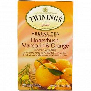 Twinings, Травяной чай: циклопия, мандарин, апельсин, без кофеина, 20 отдельных чайный пакетов, 1.41 унц. (40 г)