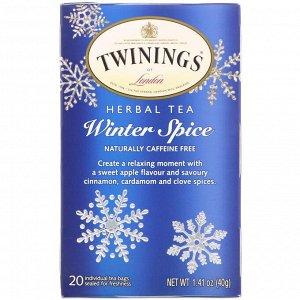 Twinings, Травяной чай, Winter Spice, естественным образом не содержит кофеин, 20 чайных пакетиков, 1,41 унций (40 г)
