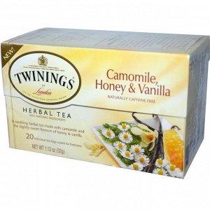 Twinings, Растительный чай с ромашкой, медом и ванилью, Не содержит кофеина, 20 пакетиков в индивидуальной упаковке, 1,13 унций